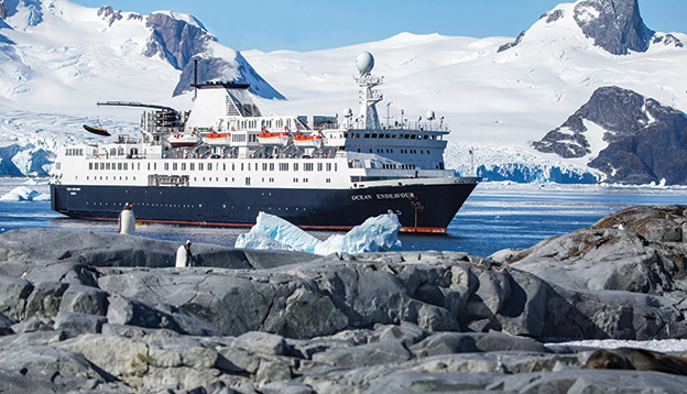 The Ocean Endeavour sailing past penguins in Antarctica