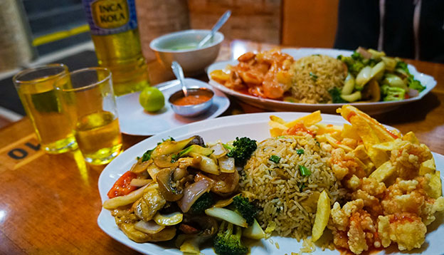 South American culture: Close up of Chifa food on a table
