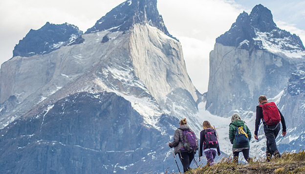 Hikers at Torres del Paine National Park. in Chile.