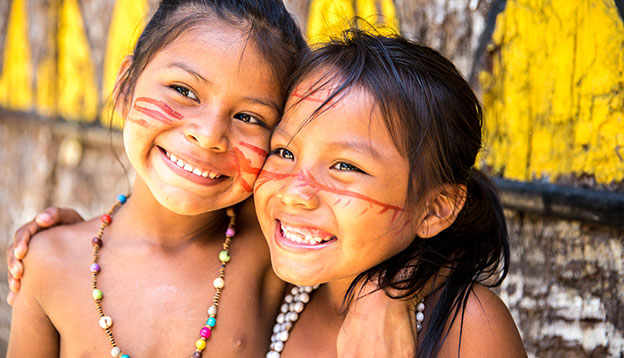 South American Culture - Local children playing in the Amazon, Brazil