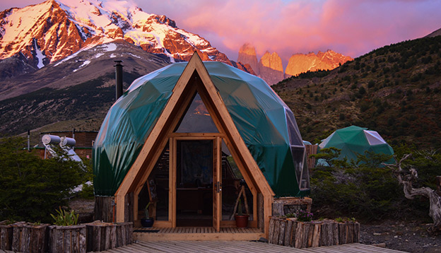 2020 Vision - EcoCamp Patagonia - photo of the dome hut with mountain in background