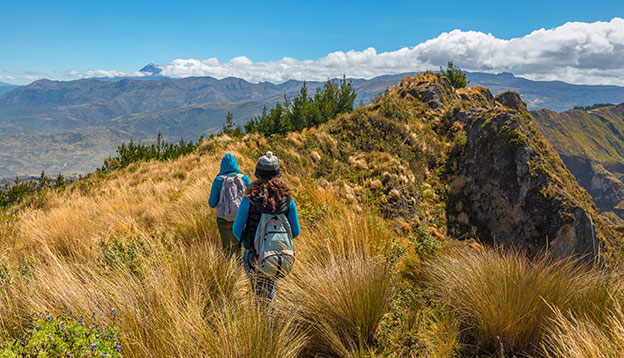 Trekking in the Andes mountain range, Ecuador.