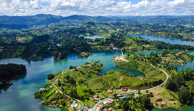 Panaromic view from Rock of Guatape in Medellin, Colombia