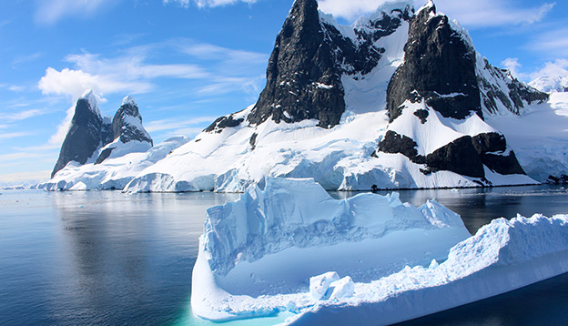 Landscape snowy mountains, Antarctic Peninsula.