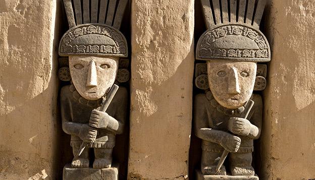 Adobe walls at archeological site Chan Chan in Trujillo, Peru