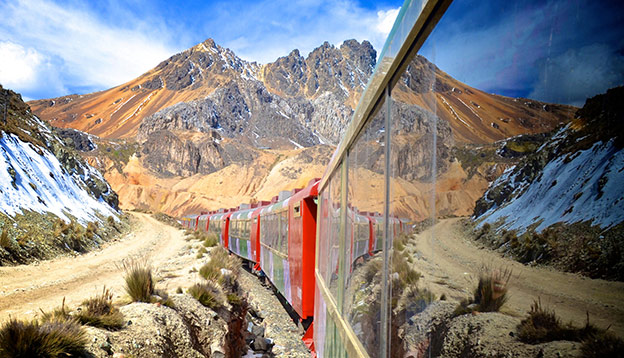 The Ferrocarril Central between Lima and Huancayo, Peru. Crossing the Andes, this train is the 2nd highest train in the world