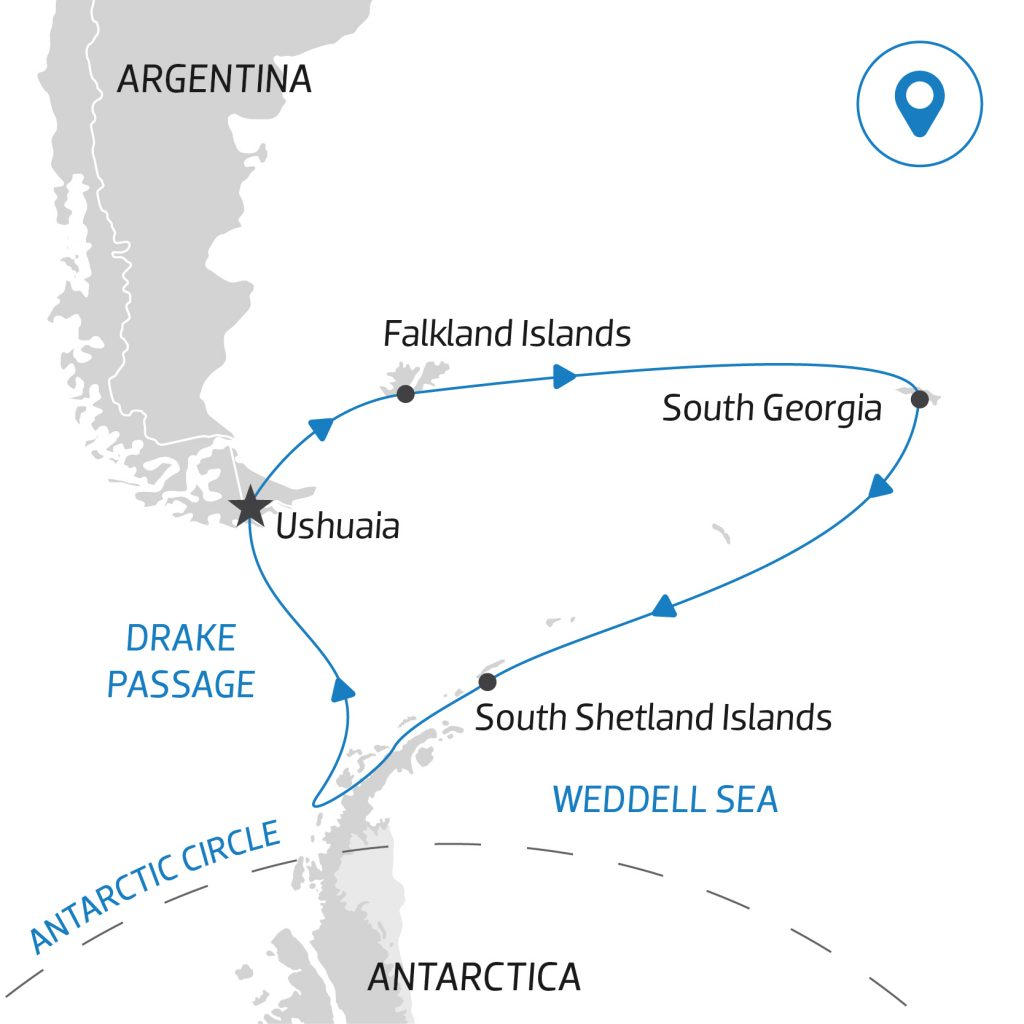A map of an Antarctica Cruise itinerary to South Georgia