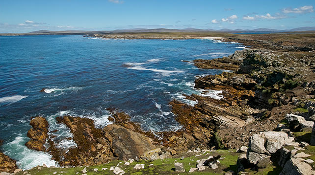 Scenic coast of Pebble Island, Falkland Islands, South Atlantic