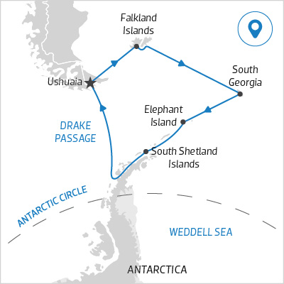 A map of an Antarctica Cruise itinerary