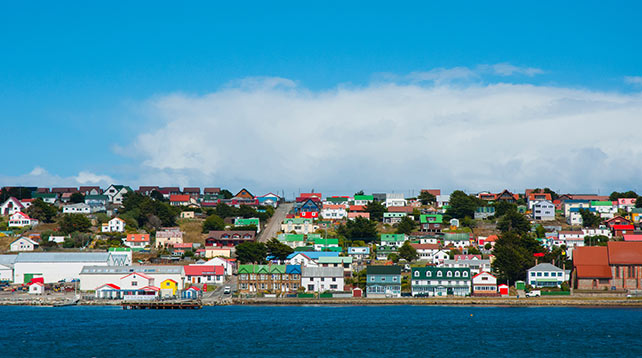 Falkland Islands. Stanley. View from the water.
