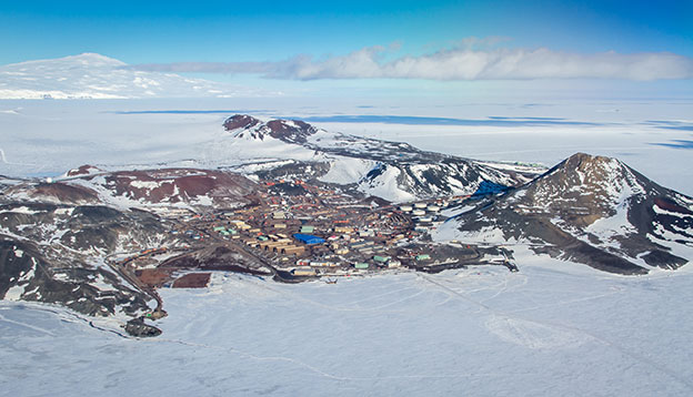 Aerial view of McMurdo Station, Ross Island, Antarctica