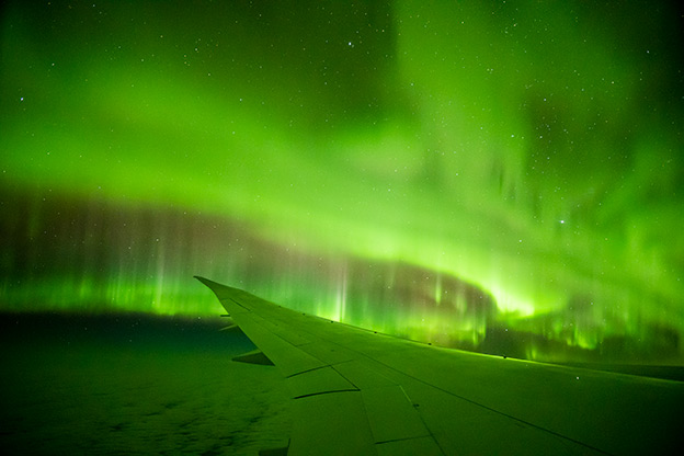 The Southern Lights photographed from an Aurora Australis scenic fliught
