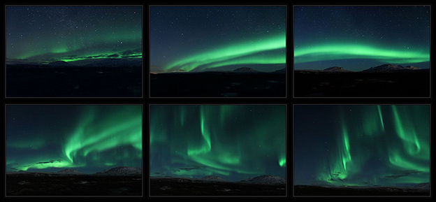 Multiple images depicting the different shapes of auroras
