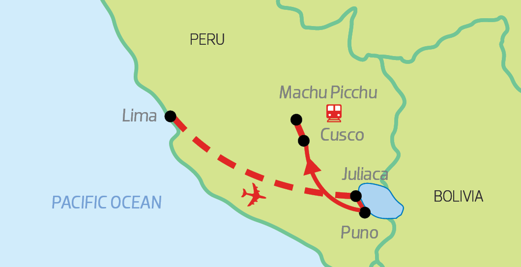 Highlights of Peru Map with Chimu